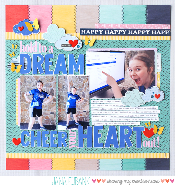 Jana Eubank Dream Cheer Scrapbook Layout 1