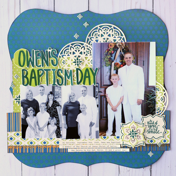 Jana Eubank Stampin Up Eastern Palace Owen's Baptism Layout 1