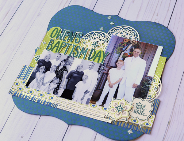 Jana Eubank Stampin Up Eastern Palace Owen's Baptism Layout 4