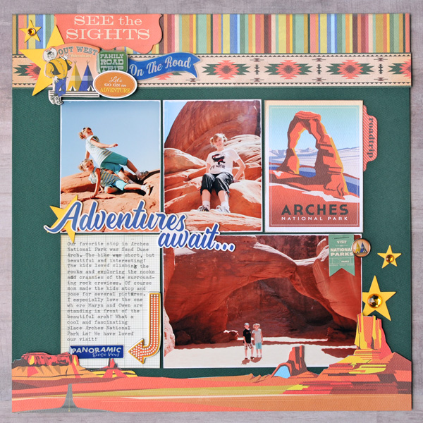 Jana Eubank Carta Bella Are We There Yet Adventures Await Scrapbook Page 1 600