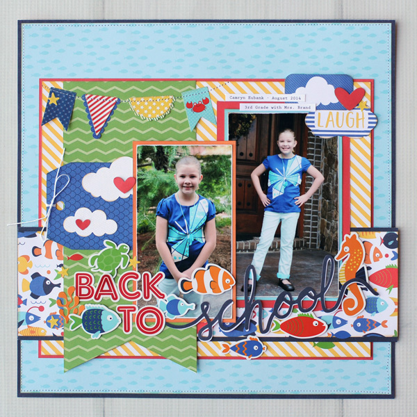 Jana Eubank Echo Park Paper Under the Sea Back to School Scrapbook Page 1 600