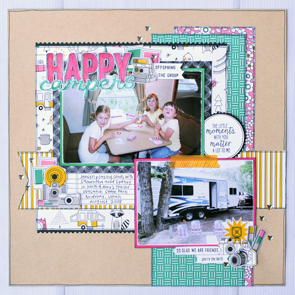 Jana Eubank Stampin Up Pick a Pattern Happy Campers Scrapbook Page 1 600