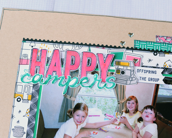 Jana Eubank Stampin Up Pick a Pattern Happy Campers Scrapbook Page 2 600