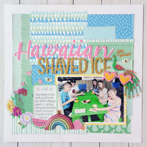Jana-Eubank-American-Crafts-Sunshine-Good-Times-Hawaiian-Shaved-Ice-Scrapbook-Page-2-Instagram-600