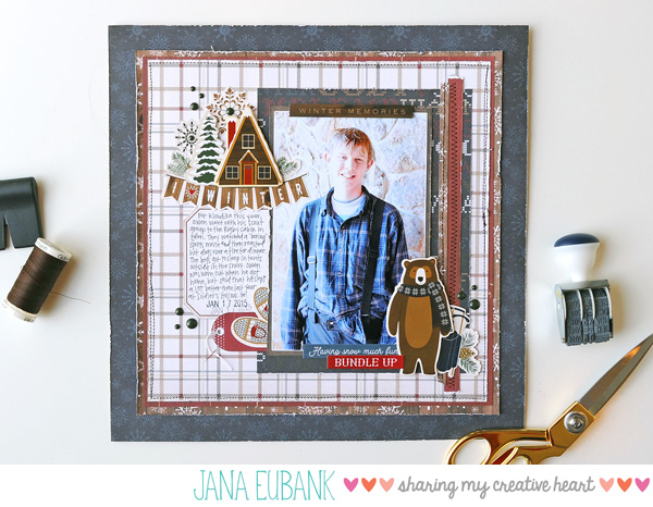 Jana Eubank Carta Bella Cabin Fever I Love Winter Scrapbook Page 1 600