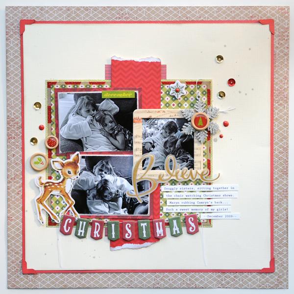 Jana Eubank Christmas Stashbuster Believe Scrapbook Page 1 600