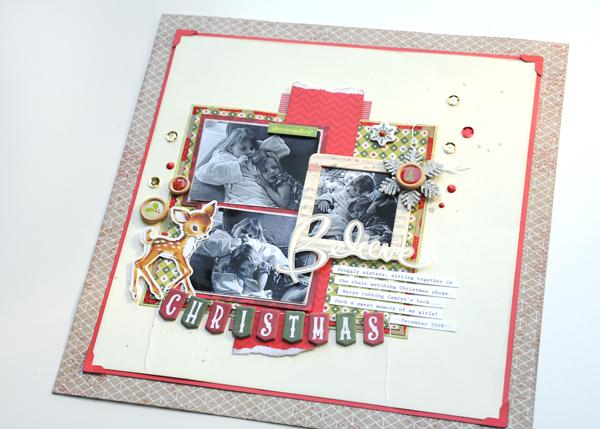 Jana Eubank Christmas Stashbuster Believe Scrapbook Page 6 600