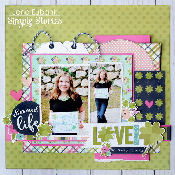 Jana Eubank Simple Stories St Patricks Day Love Notes Scrapbook Layout 1 600