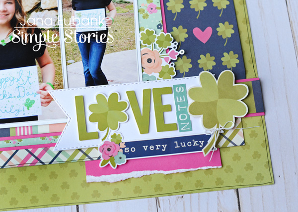 Jana Eubank Simple Stories St Patricks Day Love Notes Scrapbook Layout 4 600