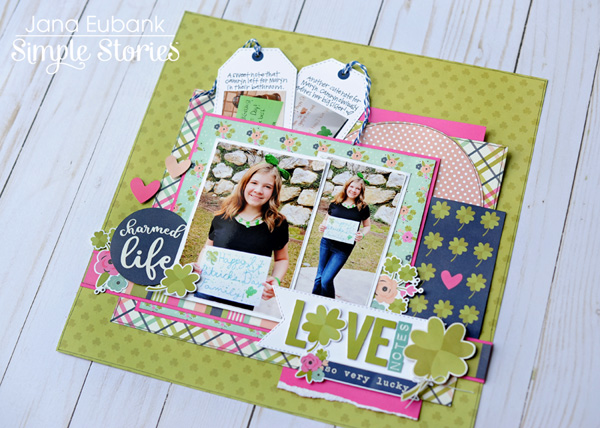 Jana Eubank Simple Stories St Patricks Day Love Notes Scrapbook Layout 5 600