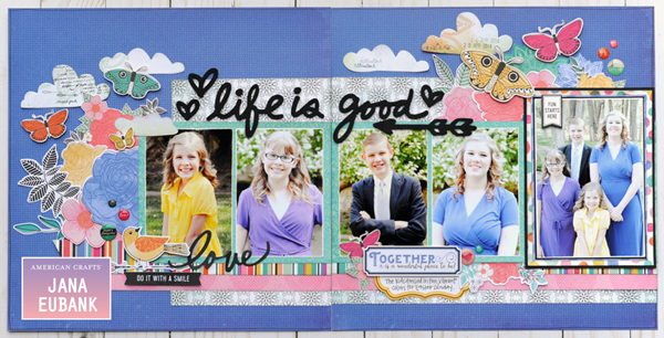 Jana Eubank - American Crafts - Vicki Boutin - All the Good Things - Life Is Good Scrapbook Page 1 600