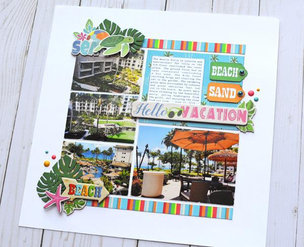 Jana Eubank Carta Bella Summer Splash Hello Vacation Layout 5 600