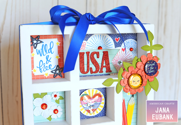 Jana Eubank American Crafts 4th of July Decor USA Shadowbox 2B 600