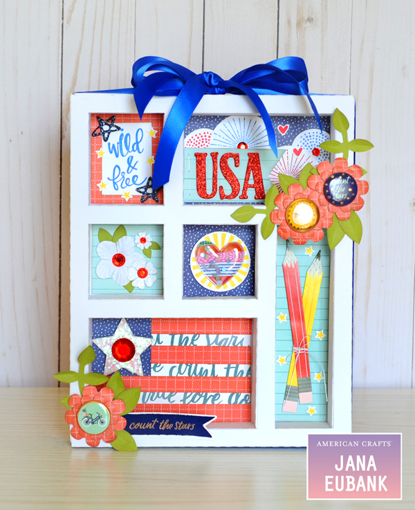 Jana Eubank American Crafts 4th of July Decor USA Shadowbox 4 600