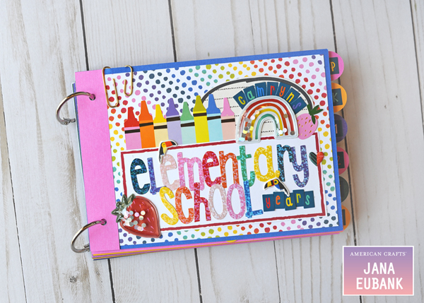 Jana Eubank American Crafts Shimelle Box of Craryons School Mini Album 1 600