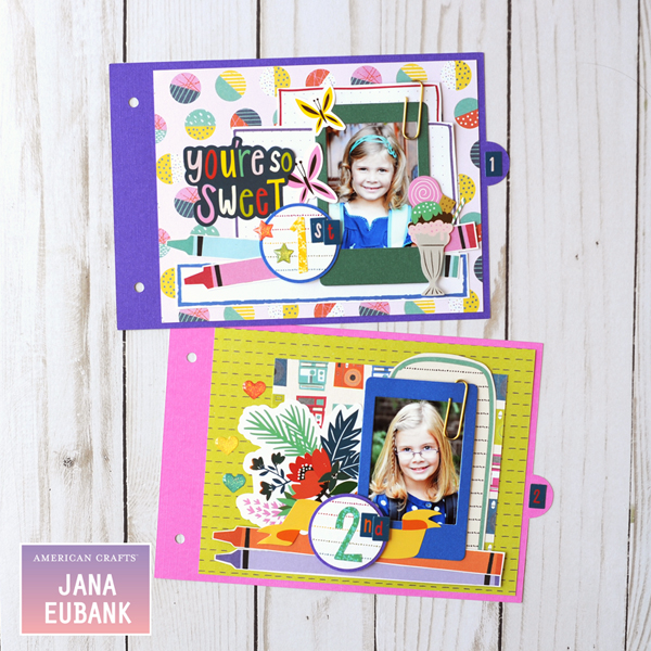Jana Eubank American Crafts Shimelle Box of Craryons School Mini Album 4 600