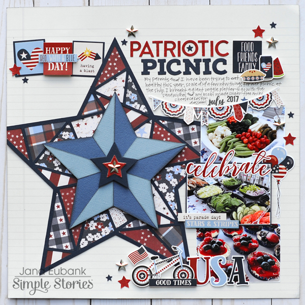 Jana Eubank Simple Stories Hometown USA Patriotic Picnic Layout 1 600