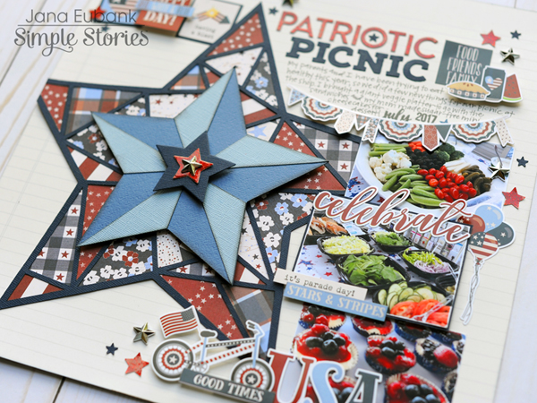 Jana Eubank Simple Stories Hometown USA Patriotic Picnic Layout 6 600