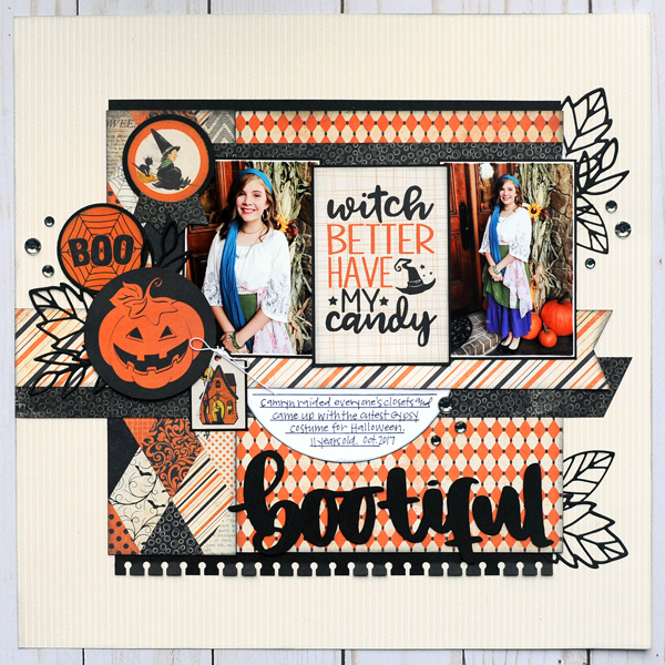 Jana Eubank Scrapbooking Store Authentique Nightfall Bootiful Layout 1 600