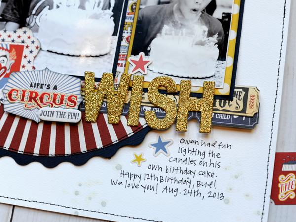Jana Eubank Carta Bella Paper Circus Bday Wish Layout 5 600
