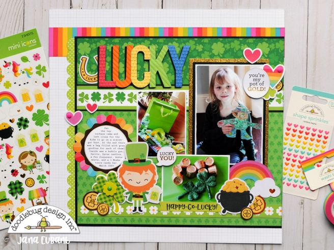 Jana Eubank Doodlebug Lots O Luck Lucky Scrapbook Layout 1 900