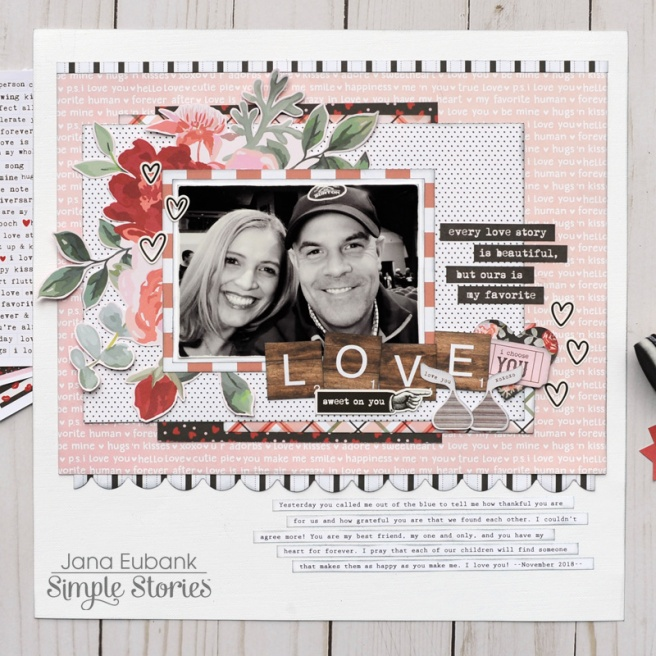 Jana Eubank Simple Stories Kissing Booth Love Scrapbook Page 1 800