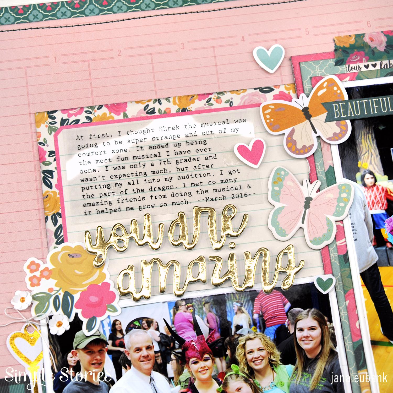 Jana Eubank Simple Stories I Am You Are Amazing Scrapbook Layout 2 1500
